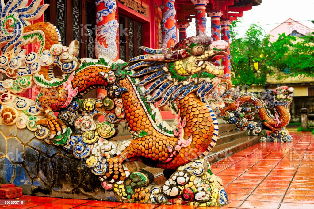 Dragons, Confucian Temple, Hoi An, Quang Nam Province, Vietnam stock photo