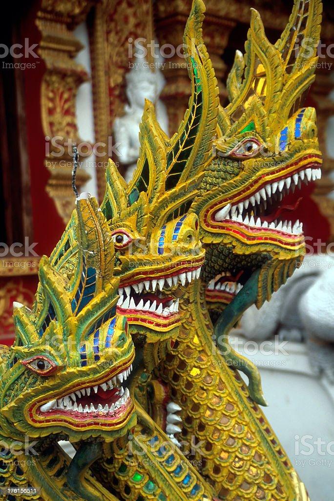 Dragons Guarding Thai Buddhist Temple stock photo