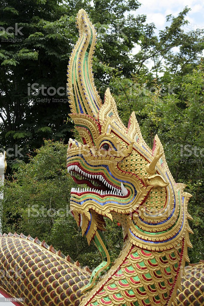 Dragons Head at Buddhist Temple, Thailand stock photo