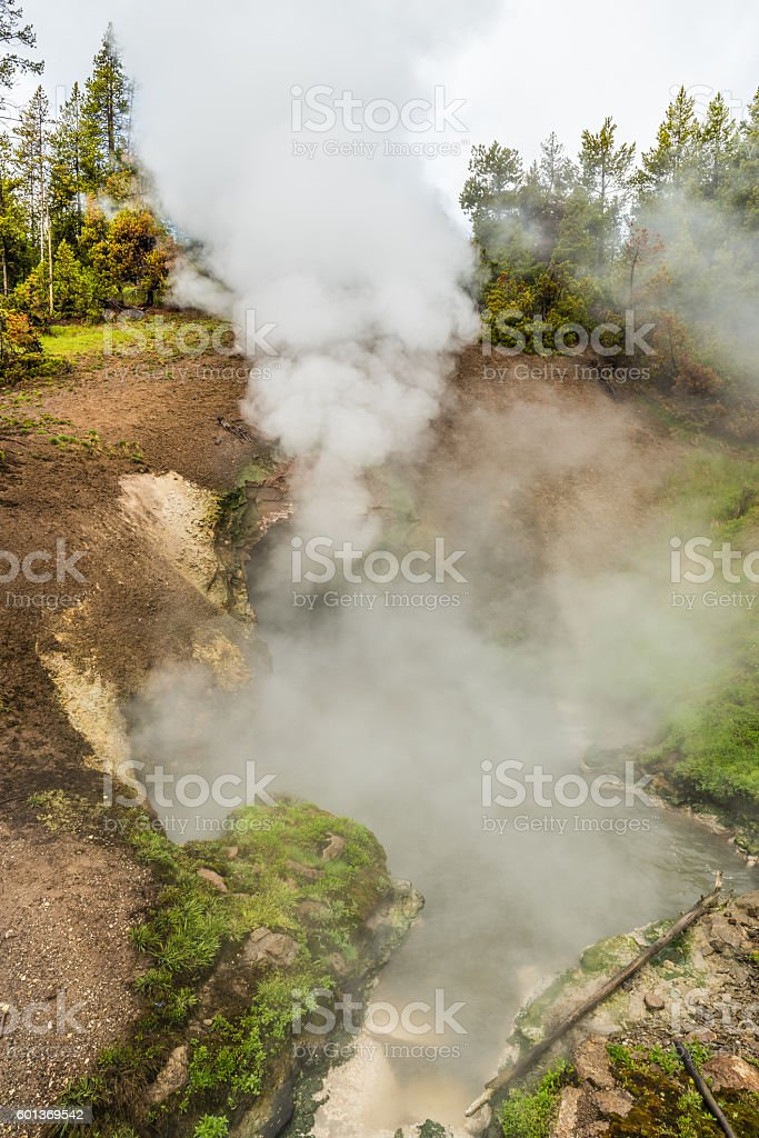 Dragon's mouth spring in Yellowstone National Park stock photo