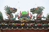 Dragons on the roof of Chinese building
