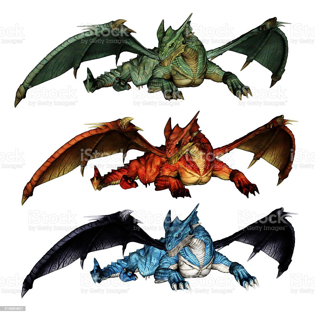 Dragons with outstretched wings in green red and blue stock photo