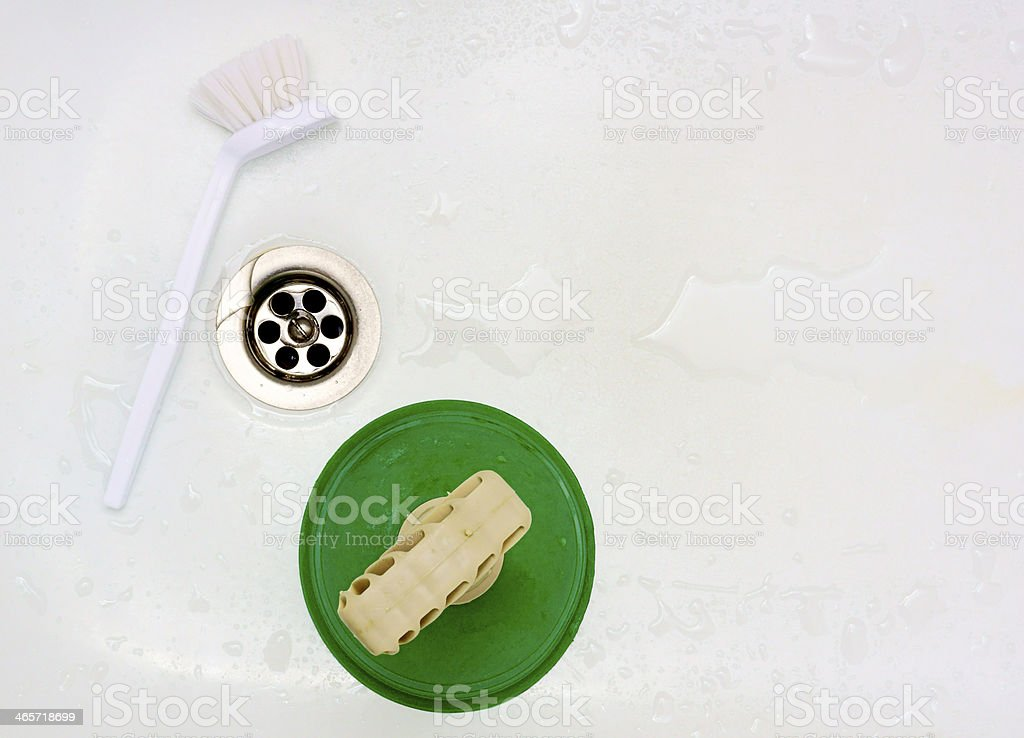 Drain from the bathroom into the sewer royalty-free stock photo