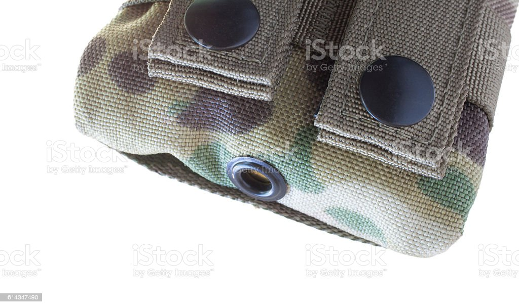 Drain hole on a magazine pouch stock photo