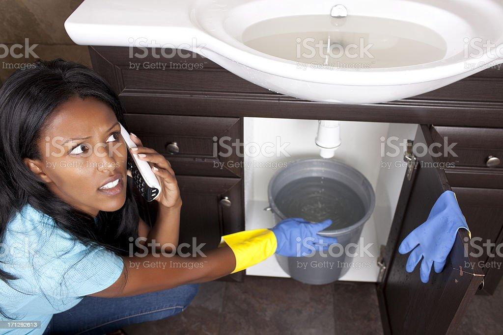 Drain sink pipe blockage. stock photo
