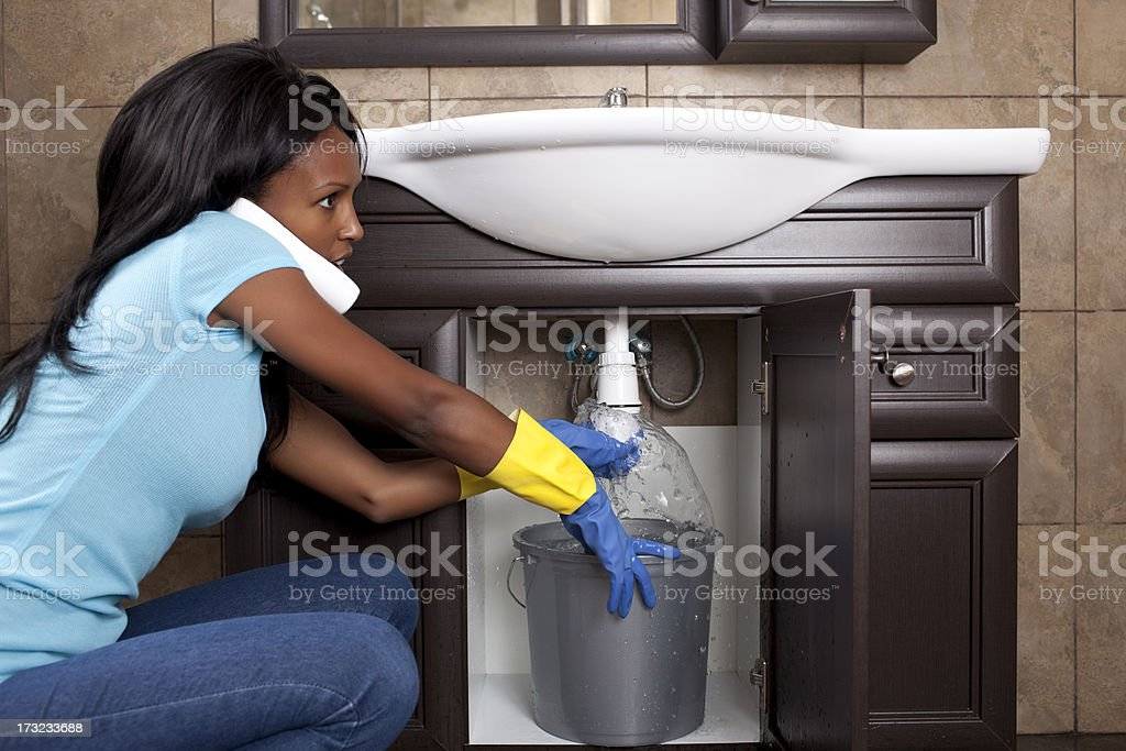 Drain sink pipe blockage. royalty-free stock photo