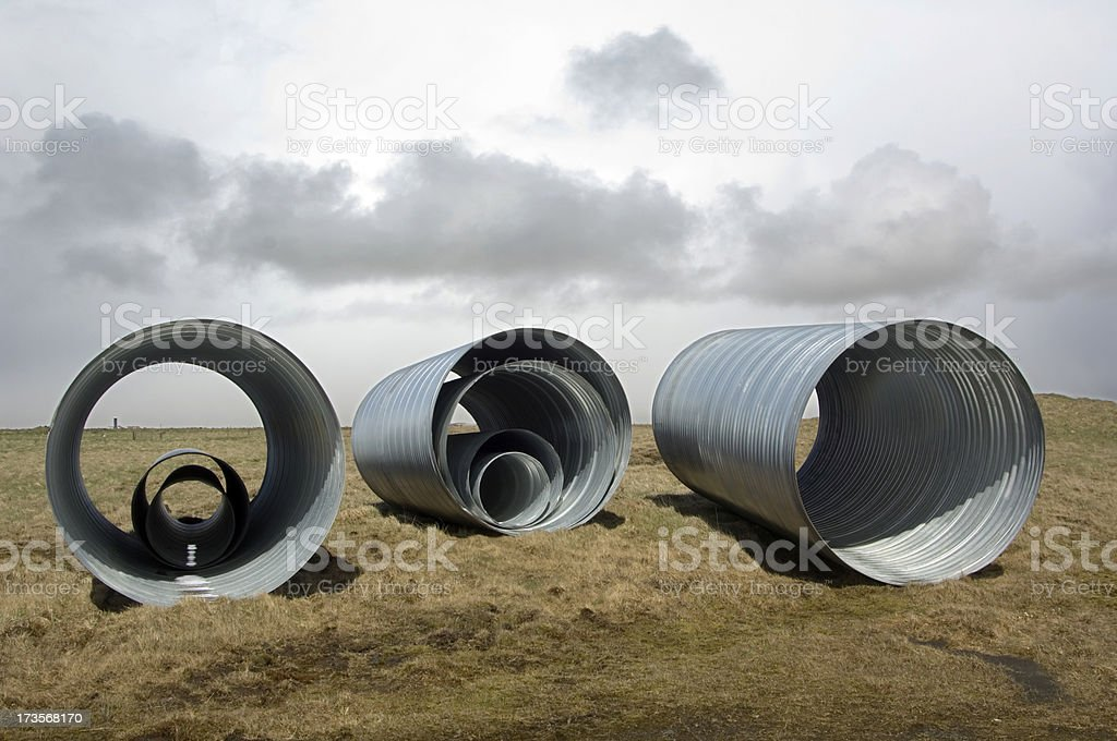 Drainage pipes stacked for construction royalty-free stock photo