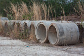Drainage pipes was left in the meadow and deterioration.
