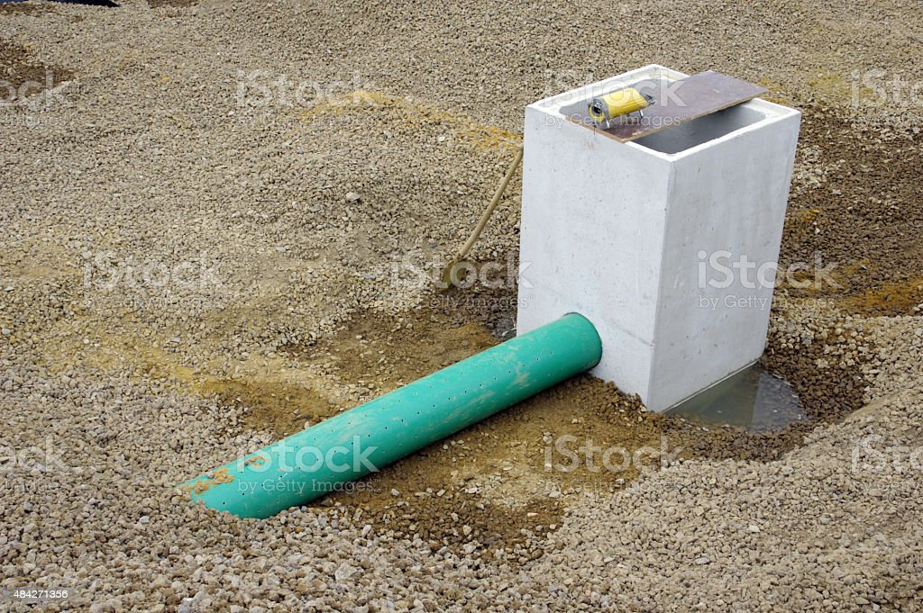 Drainage sink in a new road stock photo