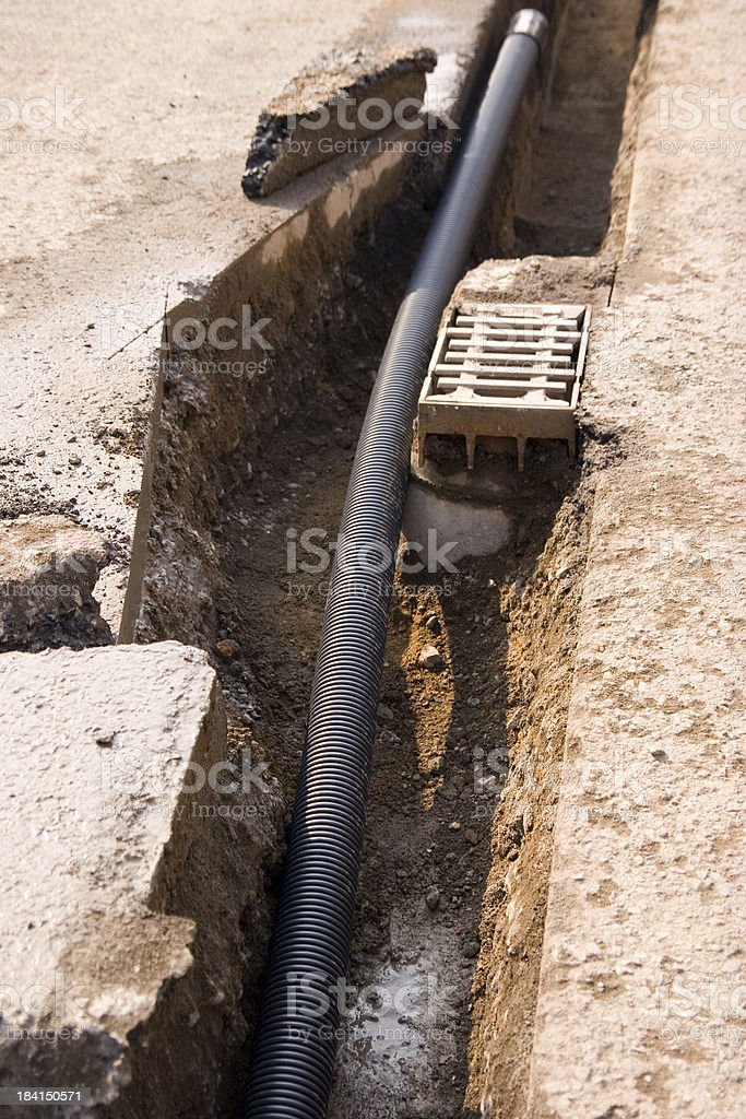 Drainpipe in a Ditch royalty-free stock photo