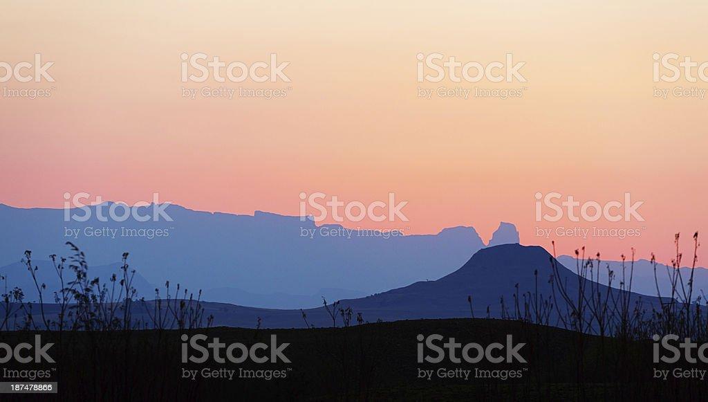 Drakensberg mountains in KwaZulu-Natal, South Africa, at sunset stock photo