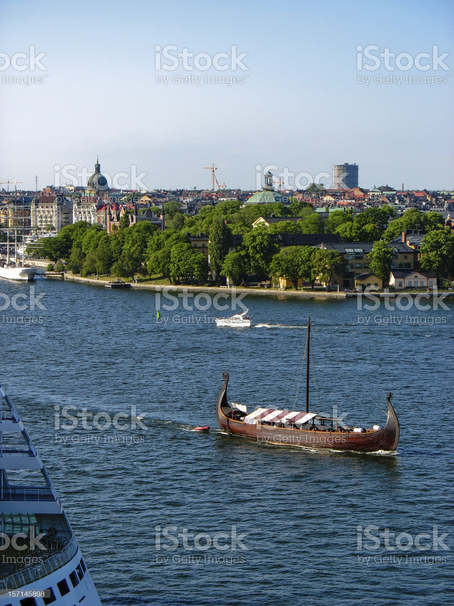 Drakkar on the Baltic Sea royalty-free stock photo