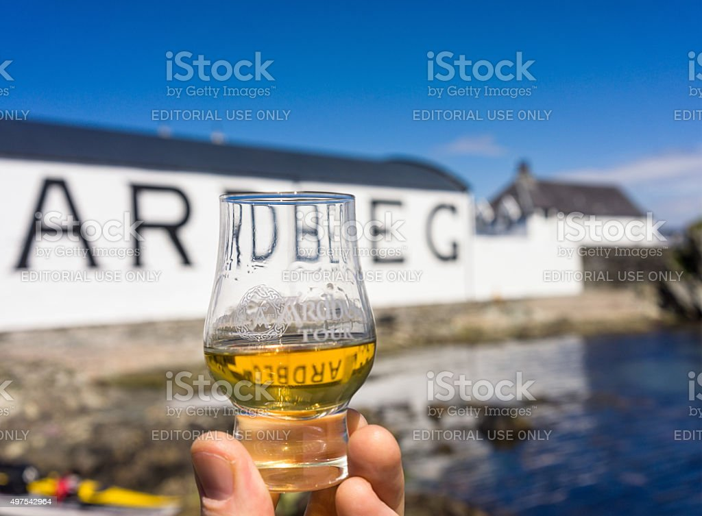 Dram of Ardbeg at the distillery on Islay stock photo