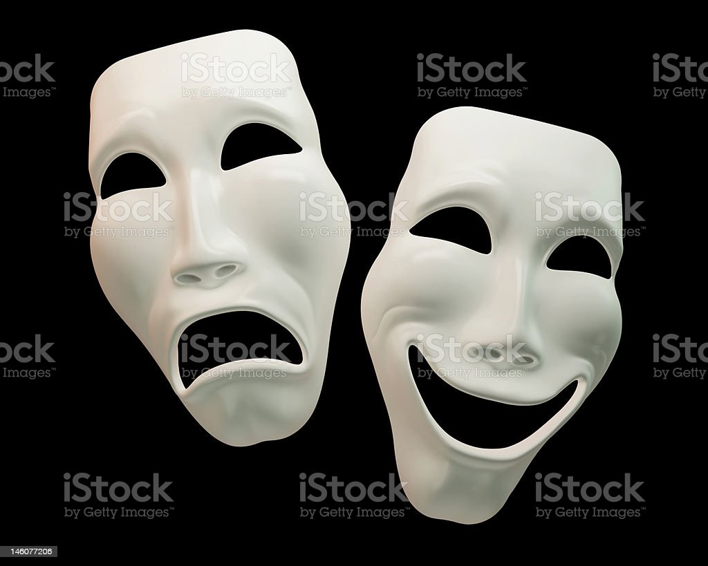 Drama and comedy-theatre symbols stock photo
