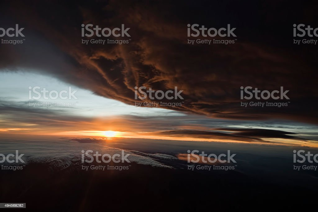 Dramatic Aerial Sunset Above the Mojave stock photo