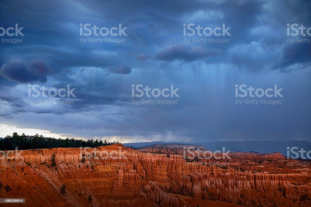 Dramatic Approaching Storm At Bryce Canyon National Park. stock photo