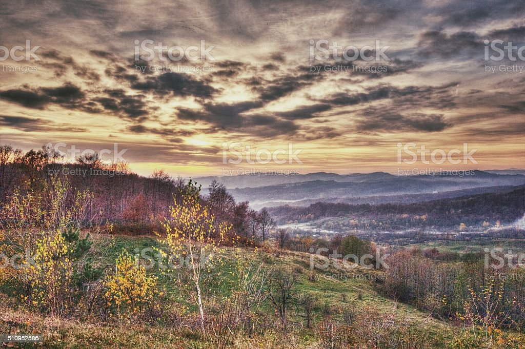 Dramatic Autumn Landscape (Vintage) stock photo