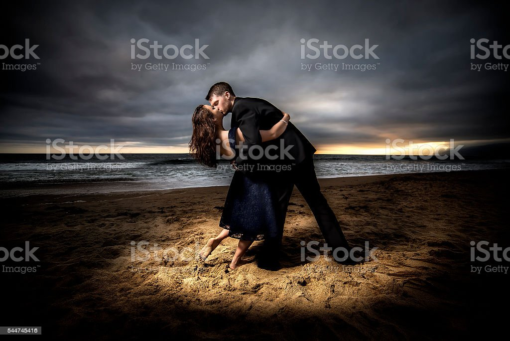 Dramatic Beach Engagement stock photo