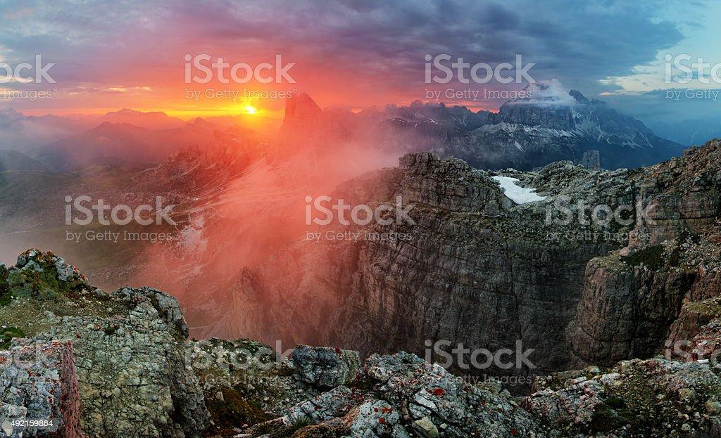 Dramatic beautiful sunset in mountain stock photo