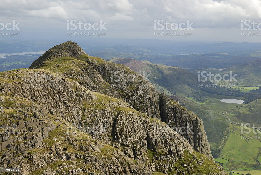 Dramatic cliffs of the Langdale Pikes, English Lake District royalty-free stock photo