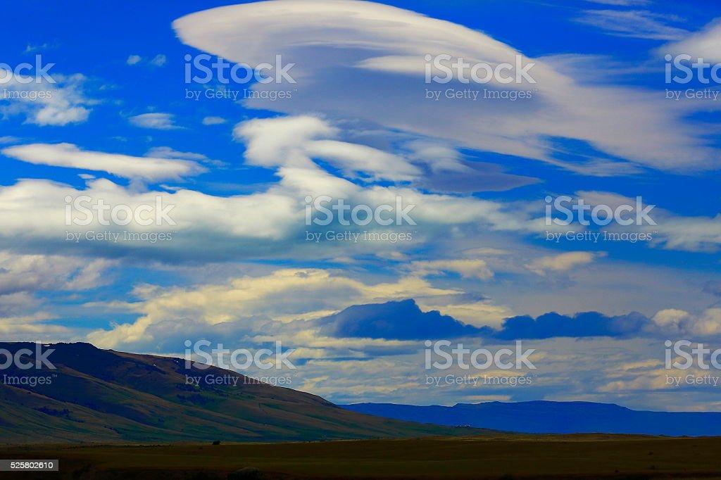 Dramatic clouds formation above estepe, Argentina, Patagonia, El Calafate stock photo