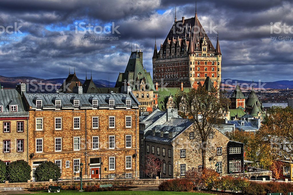 Dramatic clouds HDR in Old Quebec - Canada. stock photo