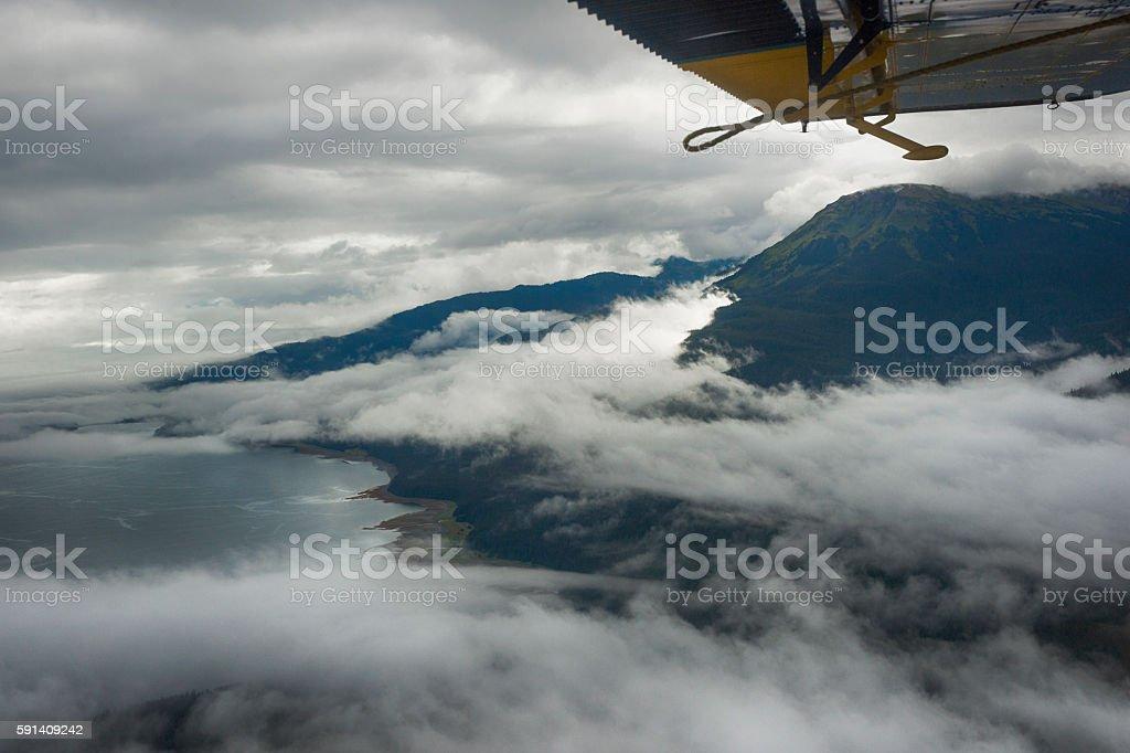 Dramatic clouds over Douglas Island, Juneau stock photo