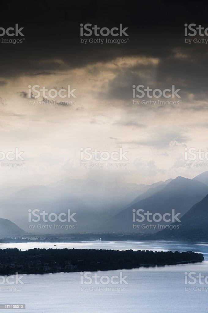 dramatic clouds over magadino switzerland stock photo