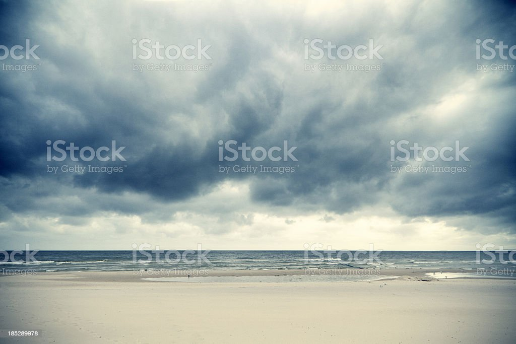 Dramatic clouds over the Baltic Sea stock photo