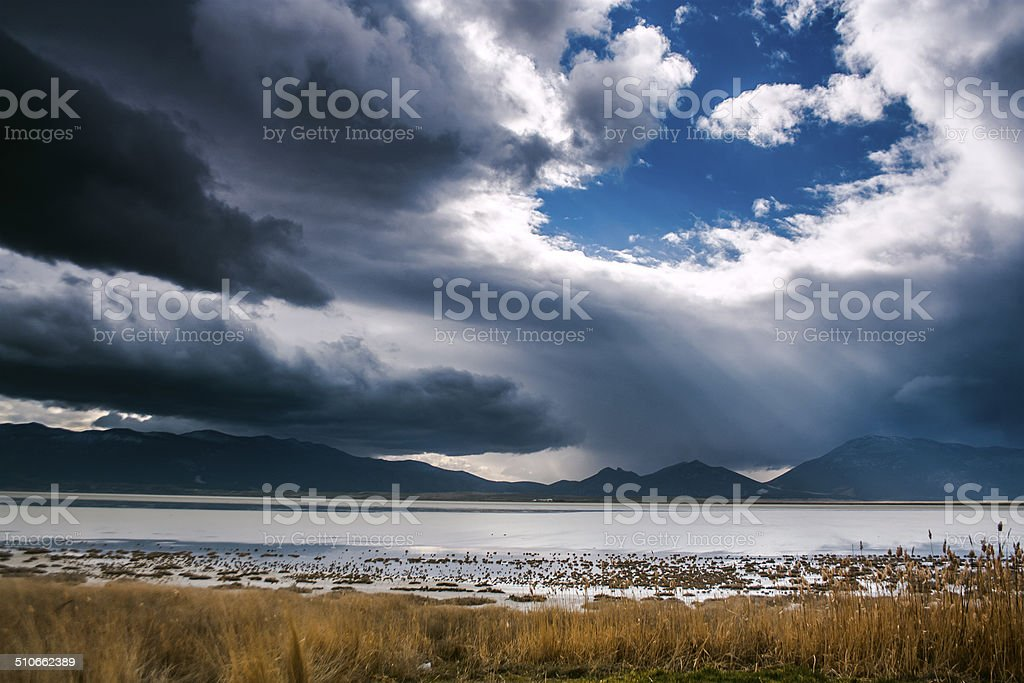 Dramatic clouds over the Bitter Lake royalty-free stock photo