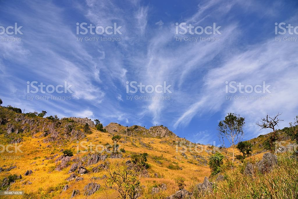 dramatic cloudscape over mountain stock photo
