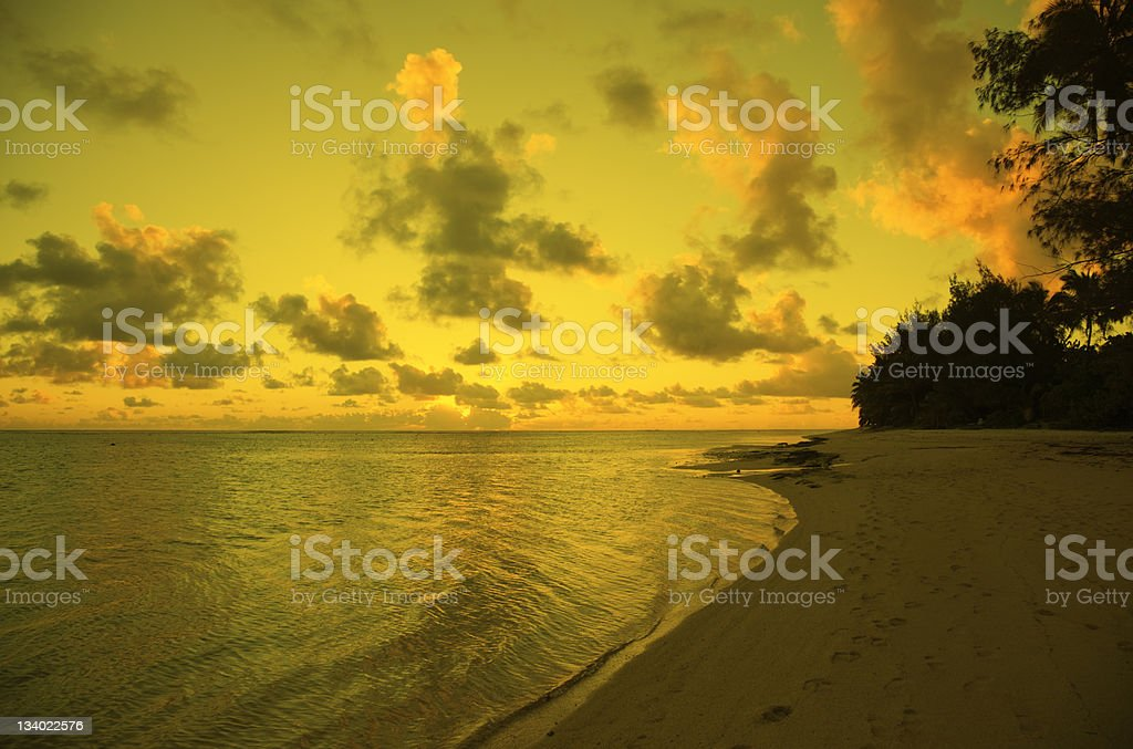 Dramatic Cloudscape over Sea and Tropical Island at Sunset royalty-free stock photo
