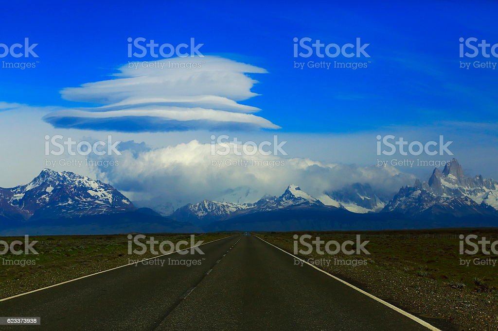 Dramatic cloudscape,  Patagonia Road to FitzRoy range, Chalten, Argentina stock photo