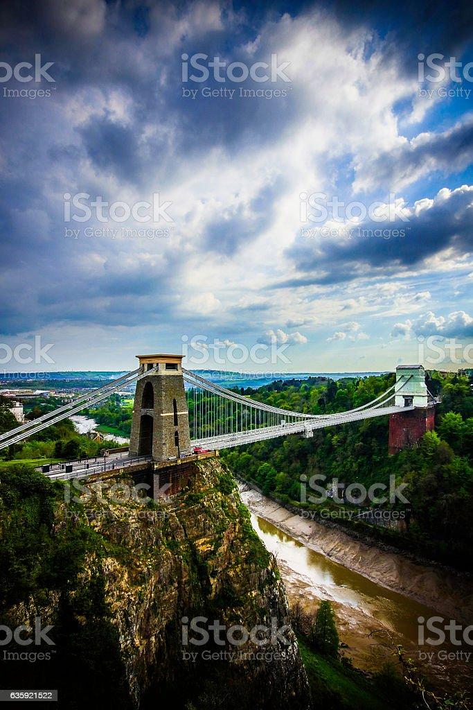 Dramatic cloudy sky over Clifton Suspension Bridge stock photo