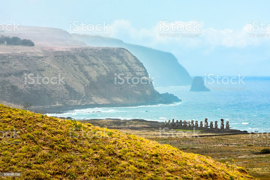Dramatic Coastline of Easter Island stock photo