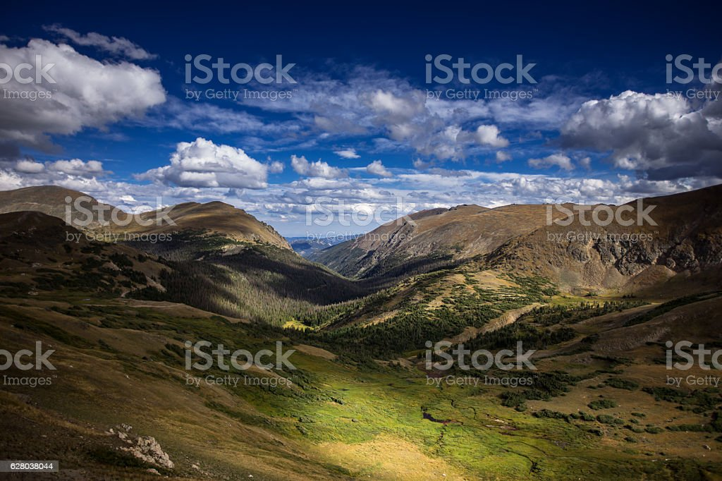 Dramatic Colorado Valley in Rocky Mountain National Park stock photo