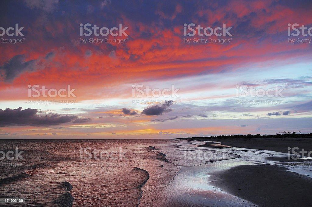 Dramatic Colorful Sunset Sky at Bowman Beach Sanibel Island Florida stock photo