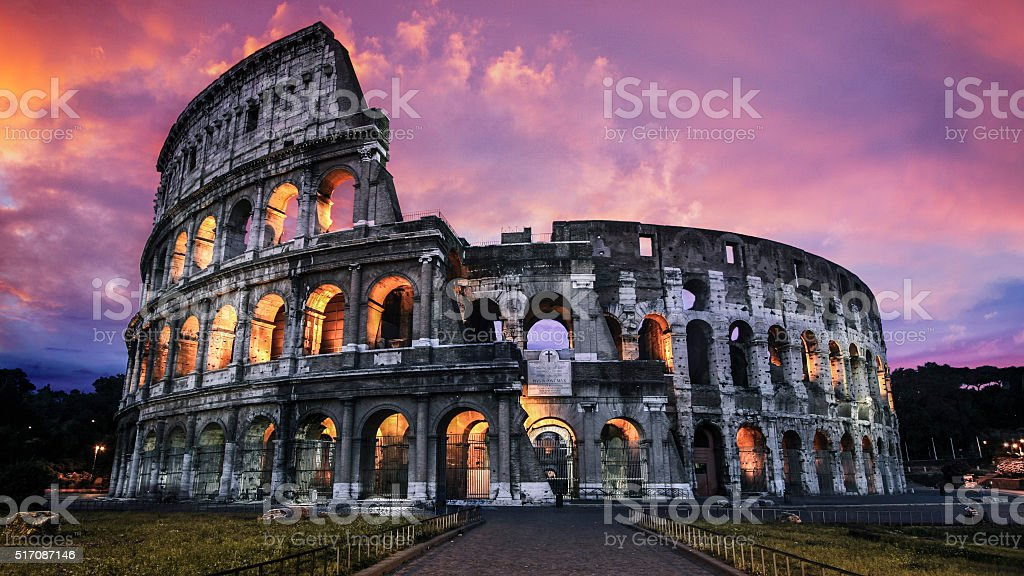 Dramatic Colosseum at Twilight in Rome, Italy stock photo
