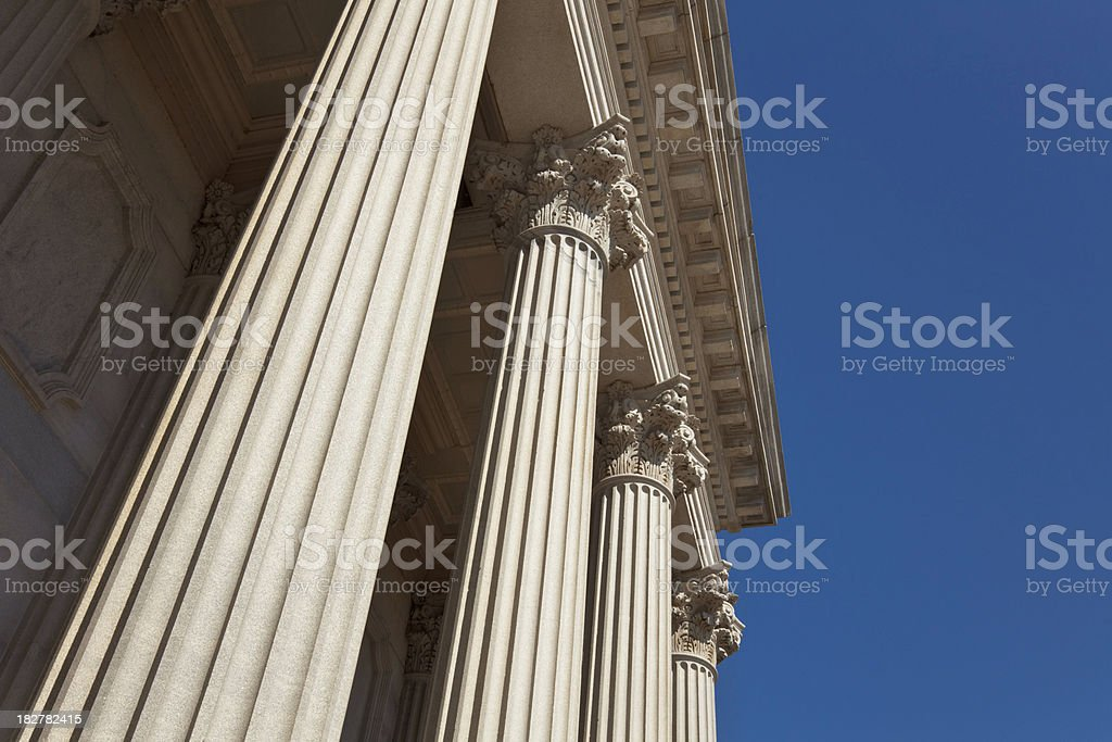 Dramatic Columns and Deep Blue Sky royalty-free stock photo