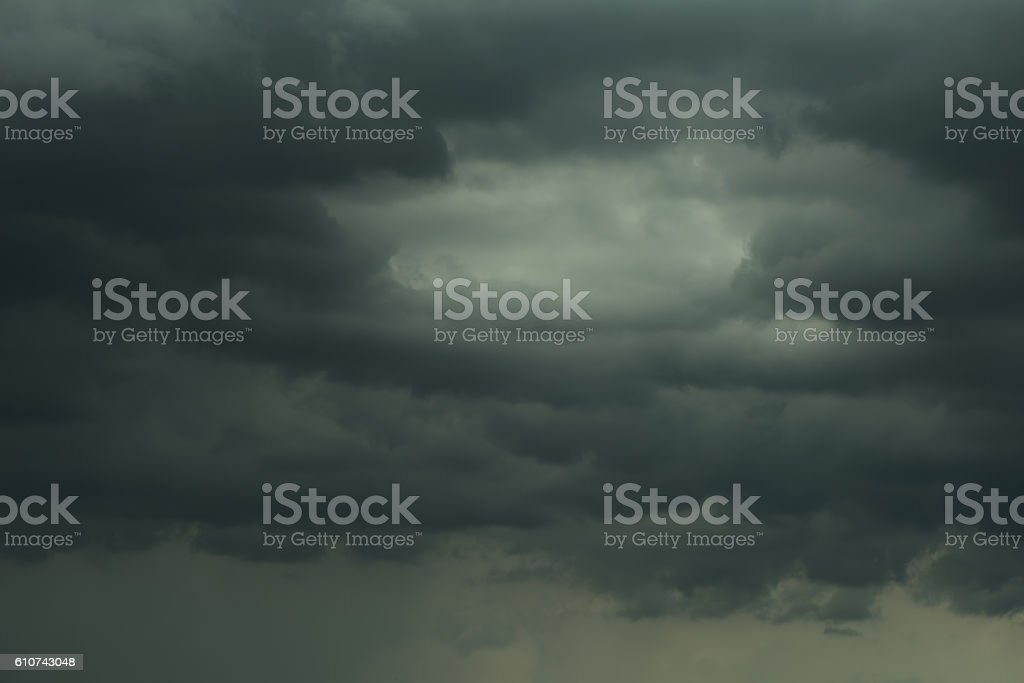 Dramatic dark clouds and rainy stock photo