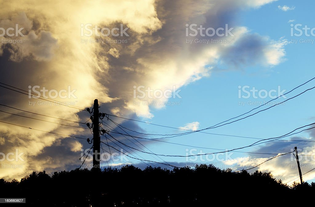 Dramatic dark clouds over the mountain royalty-free stock photo