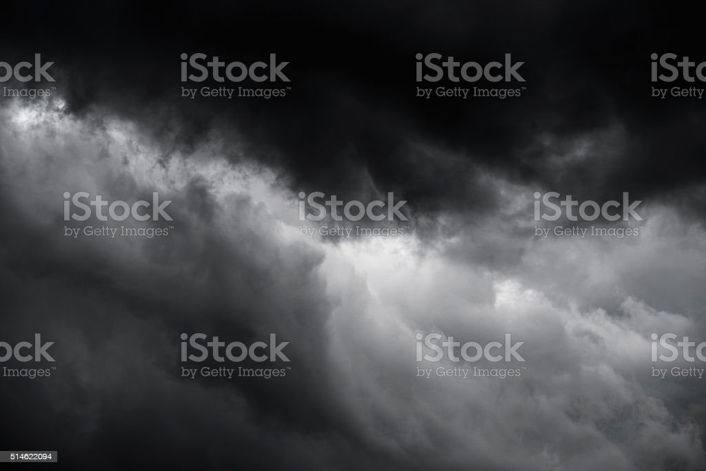 Dramatic dark storm clouds stock photo