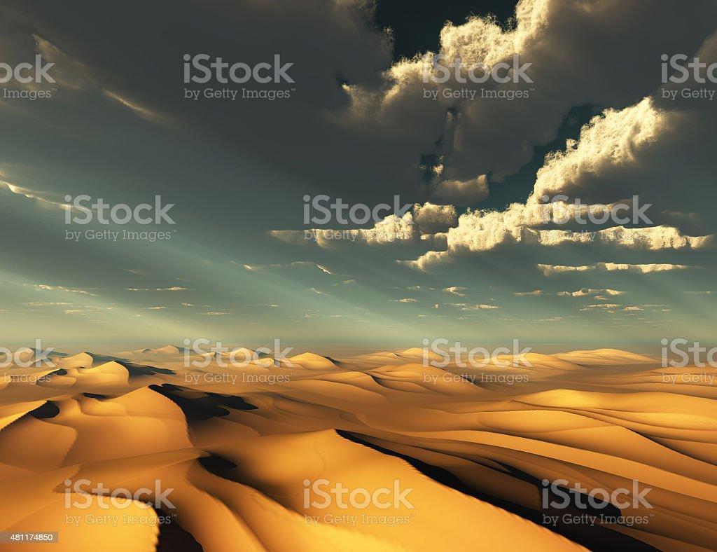 Dramatic Desert and Sky stock photo
