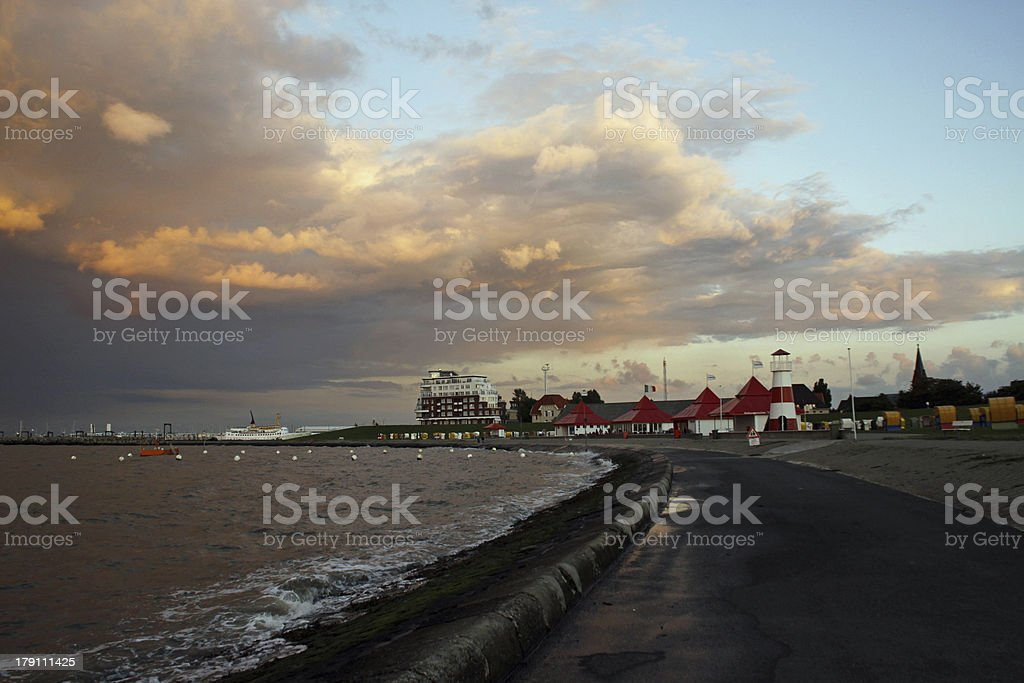 Dramatic evening sky on the North Sea coast stock photo