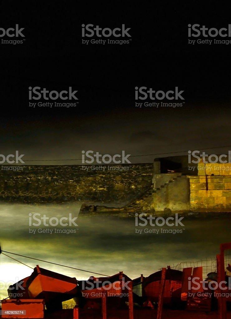 Dramatic foggy sea side landscape stock photo