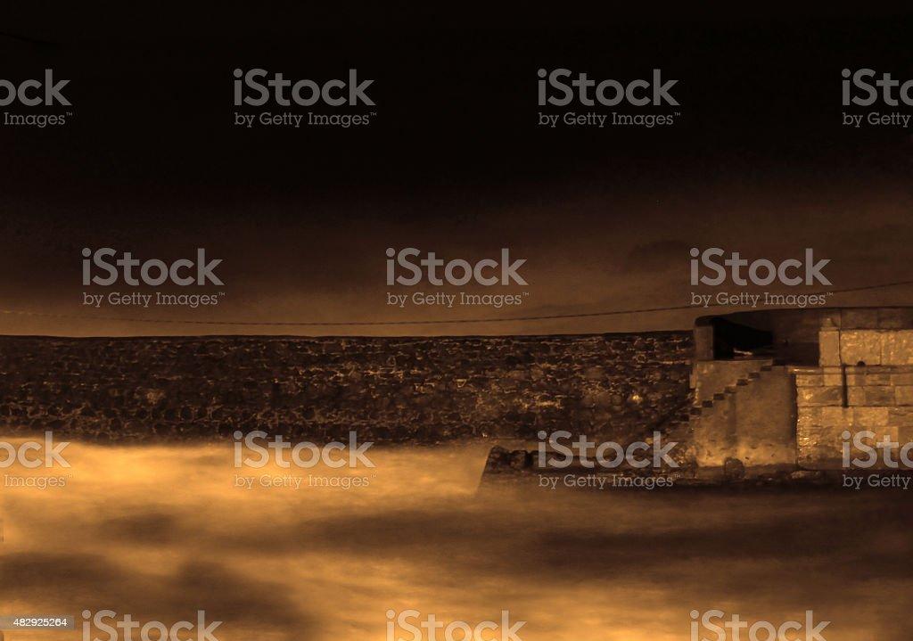 Dramatic foggy toned landscape stock photo