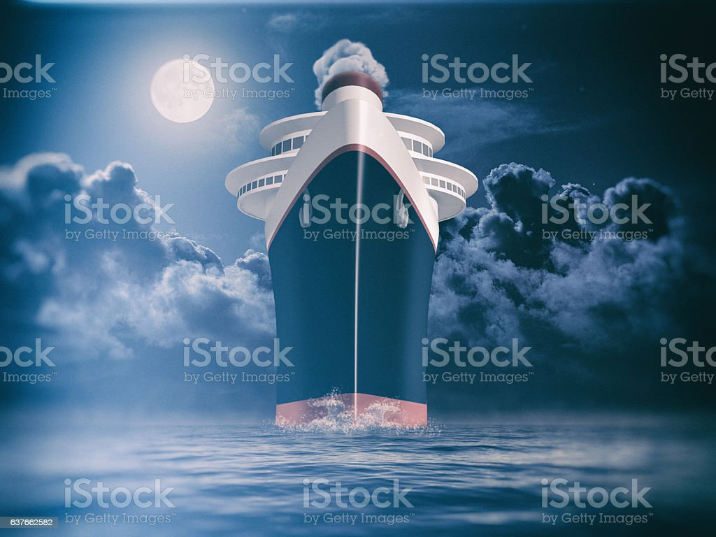 Dramatic frontal view of a trans atlantic cruise liner vector art illustration