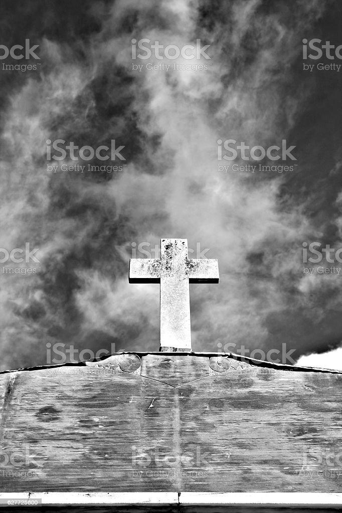 dramatic funeral cross stock photo