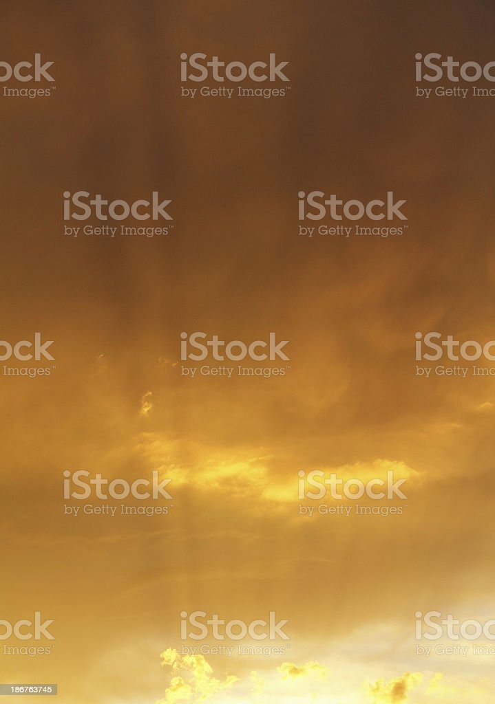 Dramatic Golden Sunset Sky royalty-free stock photo