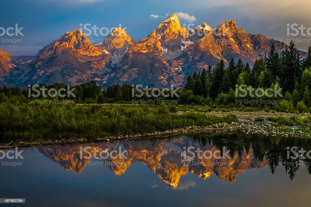 Dramatic Grand Teton Sunrise stock photo
